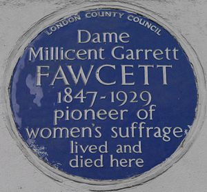 Millicent Fawcett - Blue plaque, 2 Gower Street, London