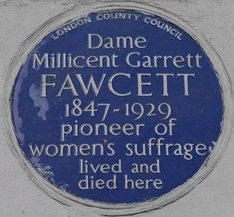 Millicent Fawcett - Blue plaque, 2 Gower Street, London