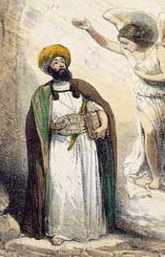 Depictions of Muhammad - Die Berufung Mohammeds durch den Engel Gabriel by Theodor Hosemann, 1847, published by Spiegel in 1999