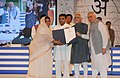Mohd. Hamid Ansari presenting the National Literacy Award 2012 to Ajmer District, Rajasthan, at the National Literacy Awards presentation ceremony on the occasion of International Literacy Day.jpg