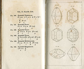 Mineralogy - Page from Treatise on mineralogy by Friedrich Mohs (1825)