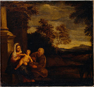 Rest on the Flight into Egypt (Mola) - One of Mola's other versions of this subject, Dulwich Picture Gallery, London