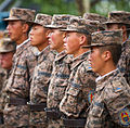 Mongolian Armed Forces engineers with the 017 Construction Regiment receive instructions before participating in Khaan Quest 2013 in Ulaanbaatar, Mongolia-Cropped.jpg