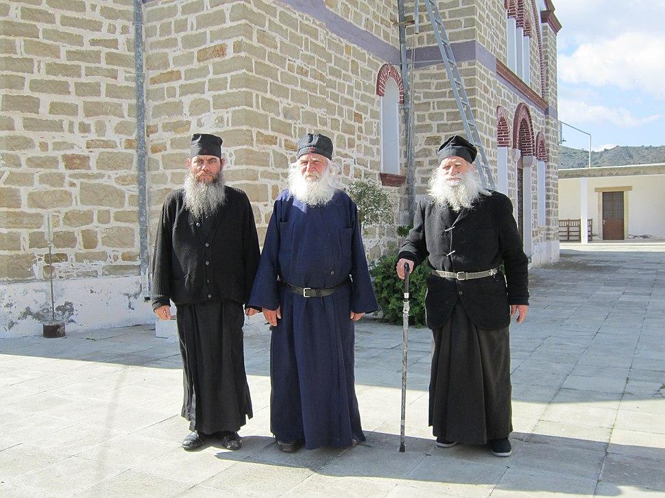Monks of Panagidia Galaktotrofousa monastry, Cyprus