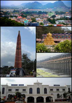 Clockwise frae Tap Left:Vijayawada Ceety View, Kanakadurga Temple on Indrakeeladri, Prakasam Barrage, Vijayawada Junction Railway Station, VMC Pylon