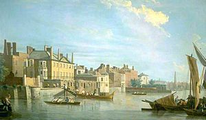 Montagu House, Whitehall - Montagu House is the seven bay house with a pediment in this view of the Thames painted by Samuel Scott in 1750.