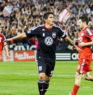 Jaime Moreno - Moreno celebrating his final goal before retirement