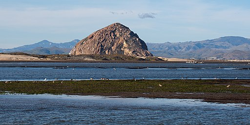 Morro Rock, Morro Bay, CA, with Sandspit and Grassy Island