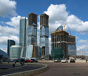 Moscow-City under construction. Moscow is the world's most expensive city to live in.