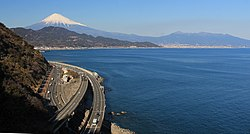 Mount Fuji and Ashitaka Mountains from Satta Pass.JPG