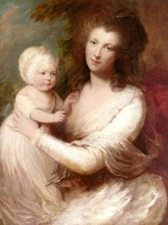 James Baillie (c. 1737–1793) - Mrs. James Baillie, and her youngest daughter Colin-Campbell Baillie (later Mrs. Lloyd), by Gainsborough Dupont, extracted from and after his uncle's original of c.1784