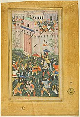 Kichik Beg Wounded during Babur's Attack on Qalat, page from a copy of the Baburnama (Book of Babur)