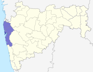 Mumbai Metropolitan Region - Dark Blue: Mumbai City (Bombay) Light Blue: Rest of the Mumbai Metropolitan Region