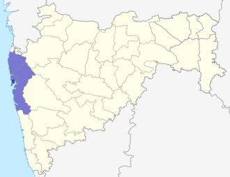 Mumbai Metropolitan Region - Dark Blue: Mumbai City (Bombay) Light Blue: Rest of the Mumbai Metropolitan Region