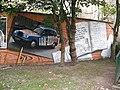 Mural, Kelvingrove Park. 17 - Taxi and credits - geograph.org.uk - 1517237.jpg