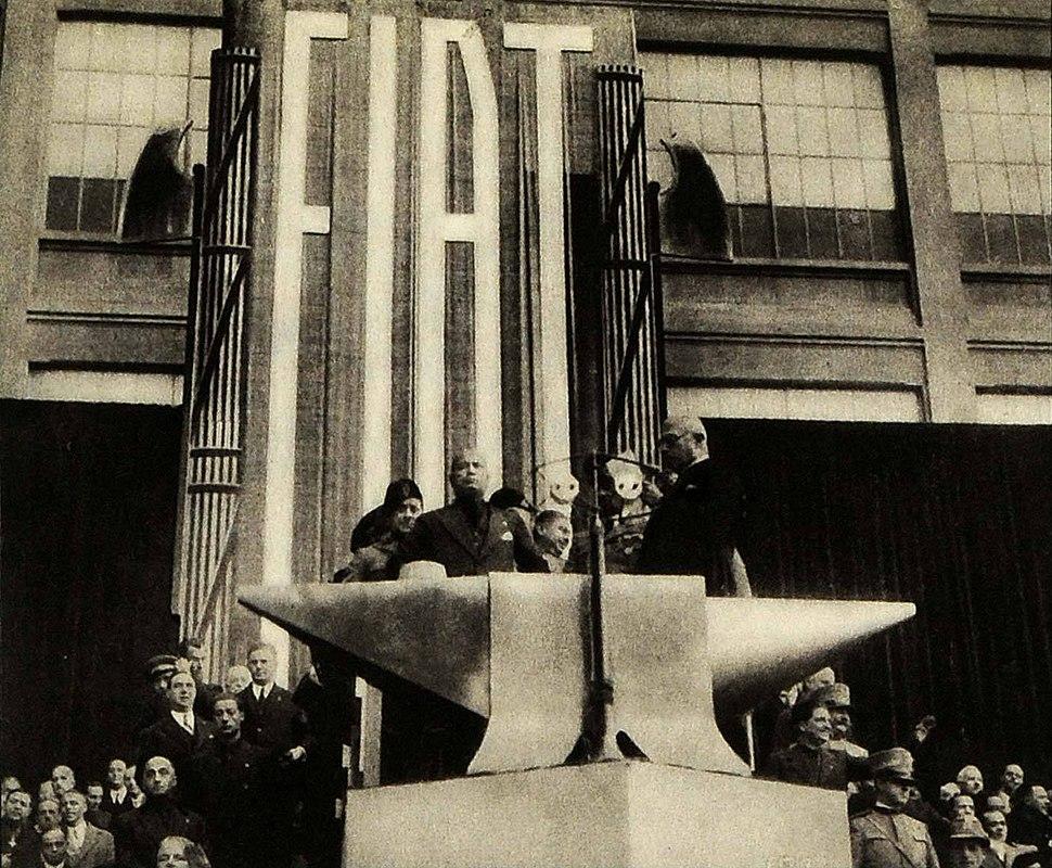Mussolini visiting Fiat, 1932