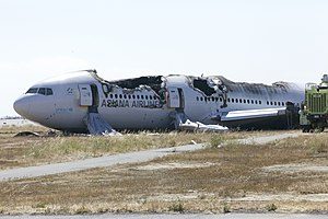 Asiana Airlines Flight 214 - The aircraft at San Francisco International Airport a day after the crash.