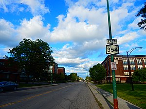 New York State Route 354 - NY 354 along Clinton Street in Buffalo, with the first eastbound reassurance shield
