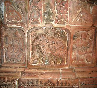 Bengali literature - Nabanarikunjara, one of the themes of Mediaeval Vishnava lyrics, engraved on a temple pillar at Bishnupur, Bankura.