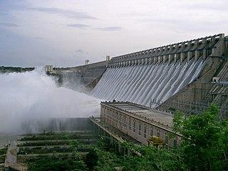 Nagarjuna Sagar Dam dam in Guntur district, Andhra Pradesh and Nalgonda district, Telangana