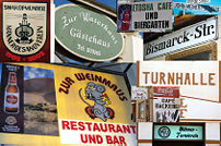 Beispiele deutscher Beschilderungen in Namibia. Collage von Bildern aus Windhuk, Outjo, Swakopmund und Lüderitz. Samples of German signs in Namibia. Collage of photos from Windhoek, Outjo, Swakopmund and Lüderitz.