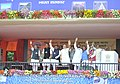 Narendra Modi at the dedication of the National Highway projects to the nation, at Ara, in Bihar on August 18, 2015. The Governor of Bihar, Shri Ram Nath Kovind and the Union Ministers are also seen.jpg