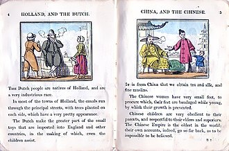 Mores - A 19th-century children's book informs its readers that the Dutch were a very industrious race, and that Chinese children were very obedient to their parents (implicitly, relative to the British).