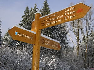 Eifel National Park - Wooden signposts for several paths