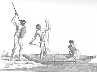 Hawkesbury and Nepean Wars - Aboriginal men hunting at Botany Bay (1789).