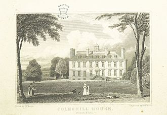 Coleshill House - Engraving of Coleshill House, 1818