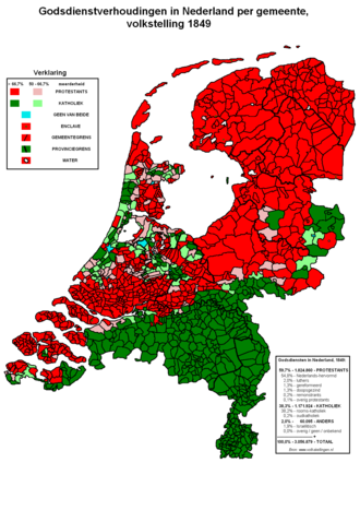 Religion in the Netherlands in 1849. Roman Catholicism Protestantism (Calvinist) Nederlandgodsdienst1849.PNG