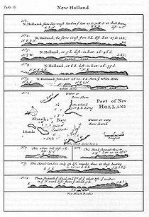Mapa de Nueva Holanda hecho en 1699 por William Dampier.