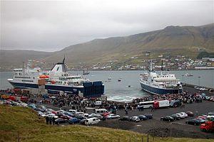 Transport in the Faroe Islands - Ferries of Strandfaraskip Landsins, with the new vessel Smyril on the left