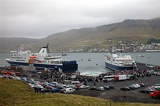The new ferry MS Smyril enters the Faroe Islands at Krambatangi ferry port in Suduroy, 2005 New smyril 11.56.jpg