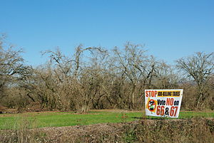 Oregon Ballot Measures 66 and 67 (2010) - Sign campaigning for a no vote on the measures in rural Yamhill County