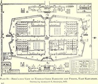 Norman Cross - Plan of Norman Cross barracks and prison in 1813