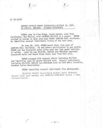 Leonard Peltier - FBI affidavit of Norman Patrick Brown