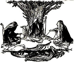 "Verðandi - ""Norns weaving destiny"" (1912) by Arthur Rackham."