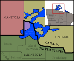 The Northwest Angle (the purple portion) in Minnesota, bordering Manitoba, Ontario, and Lake of the Woods