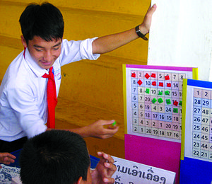 "Mathematics education - Games can motivate students to improve skills that are usually learned by rote. In ""Number Bingo,"" players roll 3 dice, then perform basic mathematical operations on those numbers to get a new number, which they cover on the board trying to cover 4 squares in a row. This game was played at a ""Discovery Day"" organized by Big Brother Mouse in Laos."