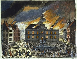 Nytorv - Copenhagen's fourth city hall in flames during the Fire of 1795