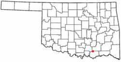 Location of Kenefic, Oklahoma