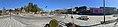 Oasen shopping mall (kjøpesenter, bydelssenter) in Folke Bernadottes vei, Fyllingsdalen, Bergen, Norway. Skyss bus station, main entrance, etc. Distorted panorama 2018-03-17 A.jpg