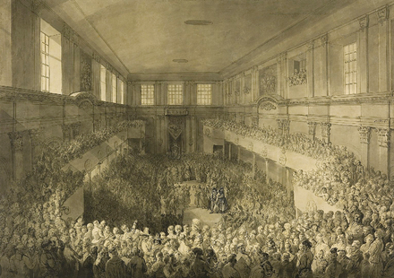 Constitution of 3 May, enactment ceremony inside the Senate Chamber at the Warsaw Royal Castle, 1791 Oath of confirmation of Constitution of the 3rd May 1791.PNG