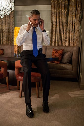 Obama takes a phone call from Romney conceding the election early Wednesday morning in Chicago. Obama takes Romney concession call.jpg