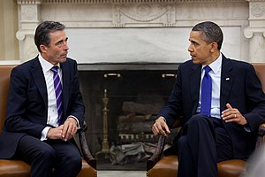 English: President Barack Obama meets with NAT...