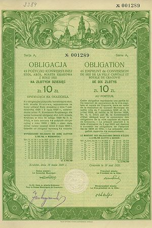 Municipal bond issued in 1929 by city of Krakó...
