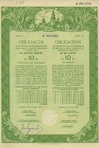 Municipal bond - Municipal bond issued in 1929 by city of Kraków (Poland)