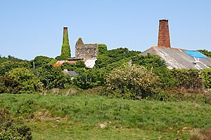 Wheal Busy - Old mine buildings at Wheal Busy