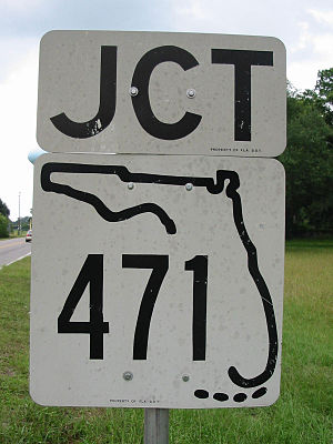 Florida State Highway System - An older State Road 471 shield, with a design used until around 1980. Note that the current design lacks the Florida Keys.